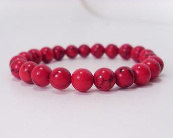 Red Howlite 8 mm beads Bracelet,Natural Gemstone Bracelet,Unisex Women Men Bracelet, Stretch Beaded Bracelet
