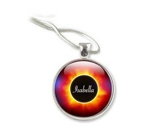 Solar Eclipse Pendant, Total Eclipse Necklace,  Personalised Eclipse Necklace, Eclipse Gift Jewelry