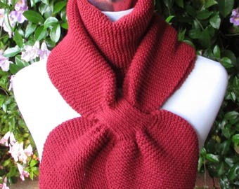 Red Knit Keyhole Scarf - Vegan Friendly Knit Women's Scarf in Acrylic Yarn