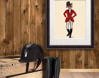 Equestrian art print - Lady Fox Hunter Full - female fox wall art vixen fox decor red fox print fox hunt fox love red wall art