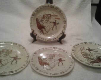 "Vernon Kilns Set of 4 Side Plates ""Frontier Days"""