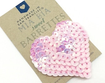 Sequin Heart Hair Clip Barrette