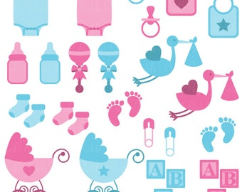 Baby Clip Art Clipart, Boy and Girl Baby Shower Clip Art Clipart - Commercial and Personal