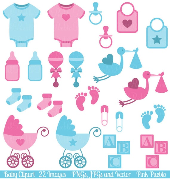 Elegant Baby Clip Art Clipart, Boy And Girl Baby Shower Clip Art Clipart    Commercial And Personal From PinkPueblo On Etsy Studio