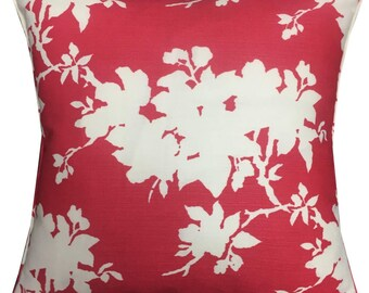 "Designers Guild Jasper Conran 'Sprig' in the Red & White Colourway Cushion Pillow Cover 18"" (45cm)"