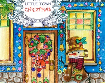 Nice Little Town Christmas Adult Coloring Book Printable PDF Digital Pages Stress Relieving Relaxation