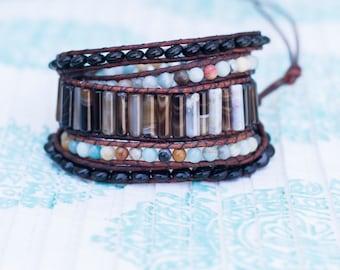 Striped Agate & Amazonite Wrap Bracelet