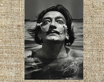 Salvador Dali photograph, Dali black and white photo print, retro vintage photograph, legendary painters, iconic artists, birthday gifts