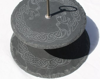 Dragon Cake Stand; Celtic Dragon Stand; Slate Cake Stand; Hand Engraved Cake Stand; Cupcake Stand; Two tier cupcake stand; Celtic Snakes;