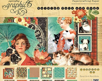 """Graphic 45  """"Raining Cats and Dogs""""  12 x 12 Paper Cardstock Collection"""