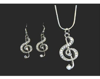 Rhinestone Treble Clef Necklace and Earring Set, Treble Clef Jewelry, Music Jewelry, Music Necklace, Music Earrings, Music Gift