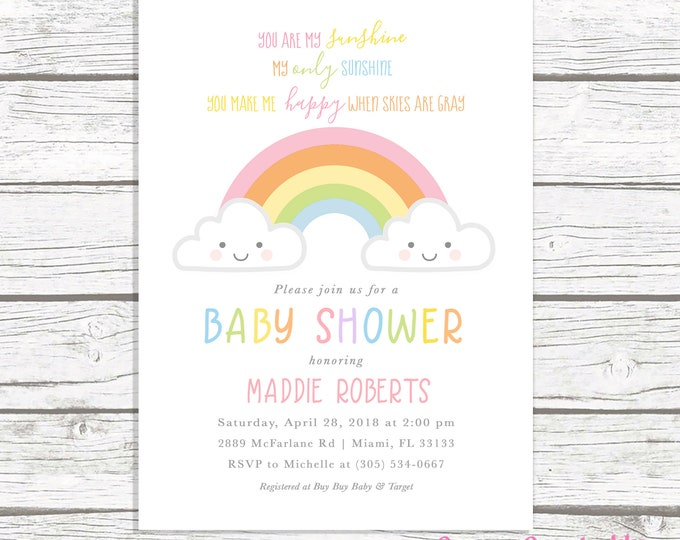 Rainbow Baby Shower Invitation, You Are My Sunshine Baby Shower Invitation, Cloud Baby Shower Invitation, Baby Shower Invite, Printable