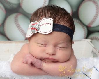 Baseball Bow Headband with a Rhinestone Center, perfect for newborn photo shoots, Yankees, Lil Miss Sweet Pea