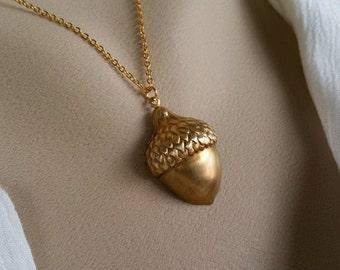 Golden Acorn Necklace - Brass Acorn, Gold Necklace,
