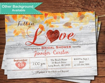 Fall in love bridal shower invitation. Autumn leaves, heart. Thanksgiving engagement party, couple shower printable digital invite. TX018