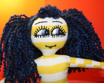 Handmade Rag Doll / OOAK / Cloth Doll / Ditsy Prints / Quirky / Stripes