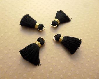 Set of 4 20mm - PP-1600 black gold silk tassels