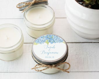 Set of 12 - 4 oz Soy Candle Wedding Favors | Blue Hydrangea Floral Label Design | Blue Hydrangea Wedding Favors | Blue Hydrangea Labels