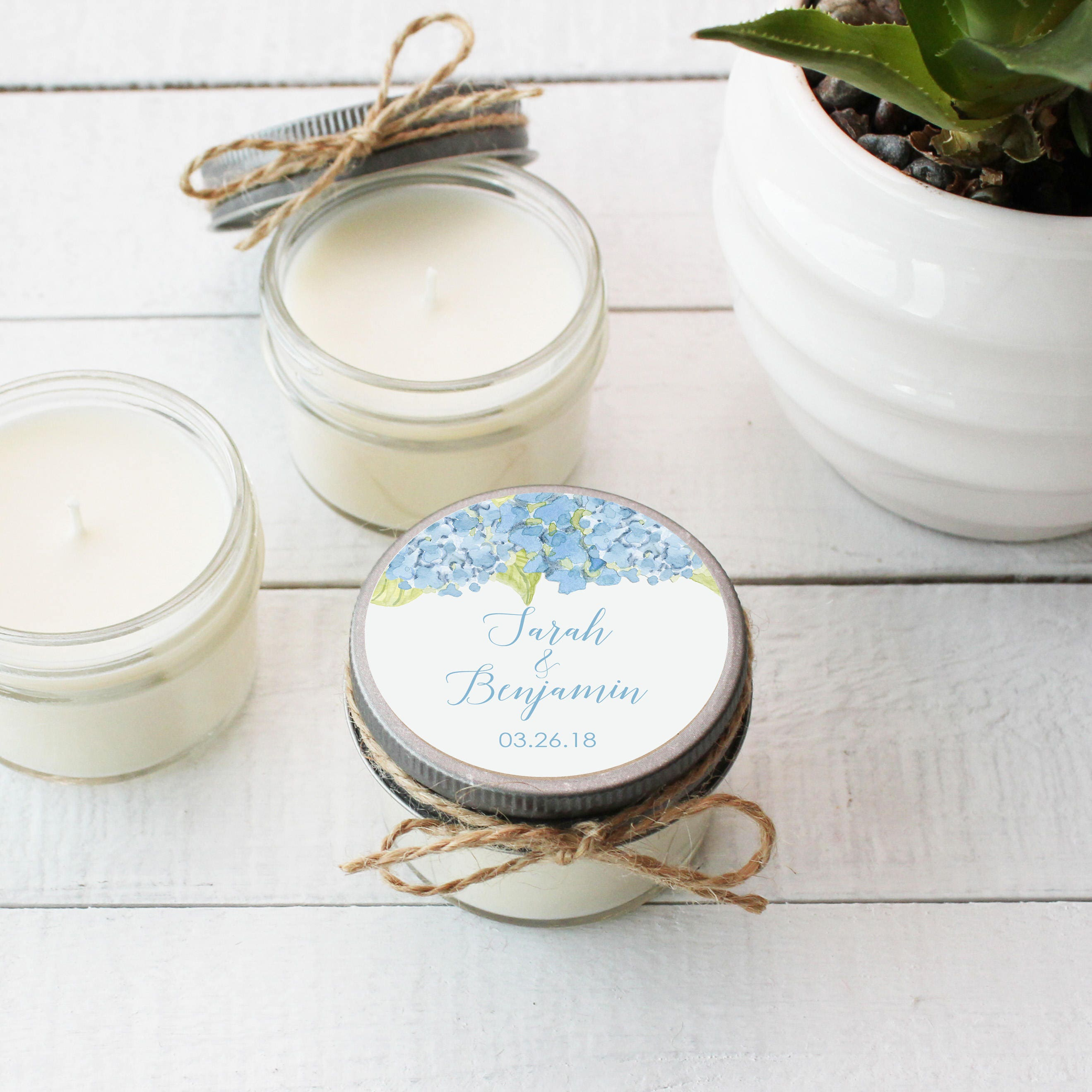 Set of 12 - 4 oz Soy Candle Wedding Favors   Blue Hydrangea Floral ...