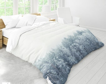 Snowy Forest Duvet Cover,  Nature Bed Linen, Forest Duvet Covers, Nature Duvet Cover, Bohemian Bedding, Queen & Twin Size, Unique Gift