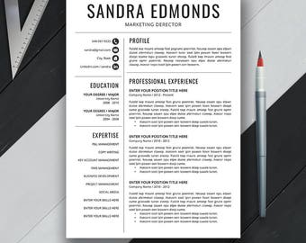 Simple Resume Template, CV Template, Cover Letter, Professional Resume Design, Creative Resume, Teacher and Creative Template, Word, Sandra