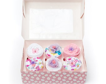 Baby shower gift idea for new mum/mum to be and baby girl. Clothing cupcakes baby girl gift shower idea. Unique newborn gift for baby shower