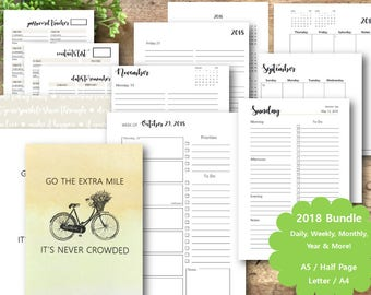 2018 Planner Printable Bundle, Dated Daily, Weekly, Monthly, and Year Planner Pages & More!, A5, Half Page, Letter, A4, Planner Inserts