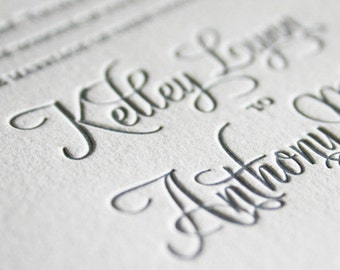letterpress wedding invitation SAMPLE PACK, letterpress invitations, wedding reply card, elegant wedding invitations, modern wedding invites