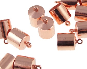 12 Kumihimo End Caps 8mm Copper Plated Cord Caps Kumihimo Supplies (KH33)