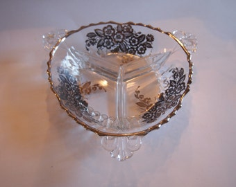 New Martinsville Crystal and Silver Overlay Relish Tray