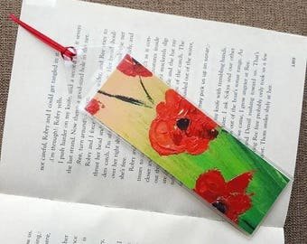 Poppy bookmark Poppy print Bookmark poppies Bookmark poppy Bookmark flower Bookmark nature art Readers gift Hand made bookmark Gift for her