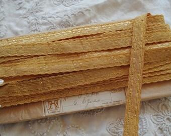 "1/2 yard French 1/2"" Antique French Gold Real Metal Plate Thread Metallic Woven Jacquard Ribbon Trim Metallic Shimmery Ribbonwork Flapper"