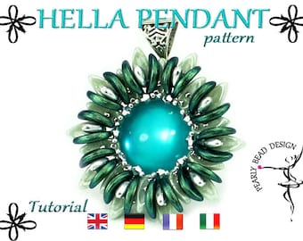 HELLA pendant pattern DIY tutorial from Chilli beads and Crescent beads (pdf file)