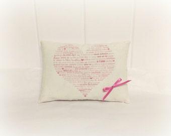 Valentine Pillow | Valentine decoration | Valentines day gift | Valentines day decor | Valentine Heart | Pillow with words | Pink decor