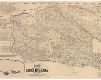 Santa Barbara County California 1889 - Old Wall Map Reprint with Farm Lines