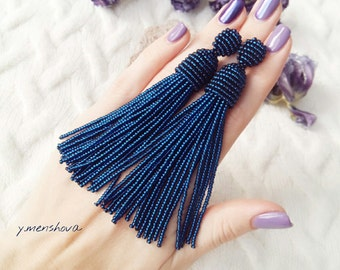 Navy blue earrings, Blue earrings, Beaded tassel earrings, Beaded earrings, Long blue earrings, Long earrings, Stud earrings