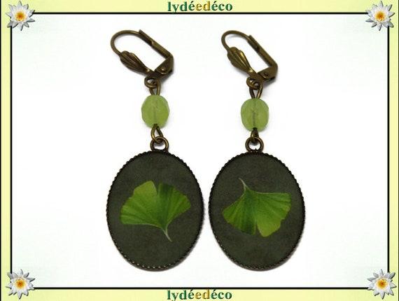 Retro earrings Japanese tree lime green resin brass GINKO beads 18 x 25mm