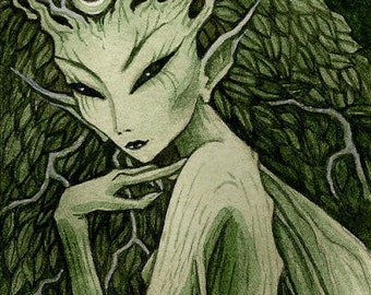 Signed ACEO limited edition print 'Of the Leaves' deep green fairy, tree, spirit of nature, faery, woodland faerie, forest green art, dryad