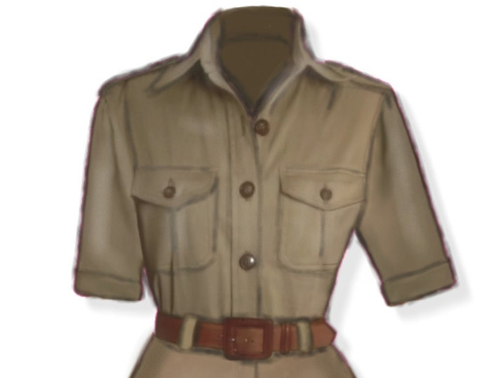 Safari style, women's shirt, 4 patterns for 4 different sizes