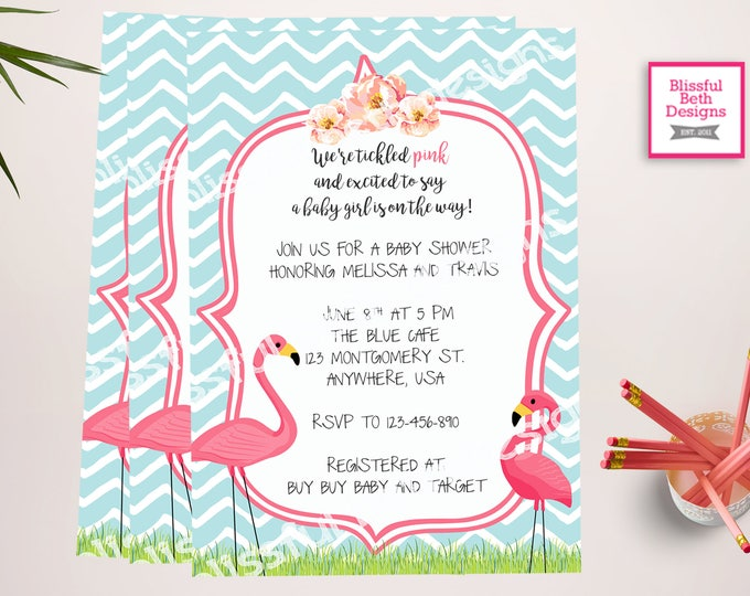 FLAMINGO BABY SHOWER, Tickled Pink Baby Shower Invitation, Flamingo Invitation, Flamingo Baby Shower, Flamingo,  Flamingo Shower, Baby