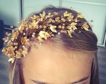 bridal tiara, gold crown, headpiece, crystal tiara,gift for her,crystal headpiece, gold headdress, tiara, hair vine,Christmas gifts