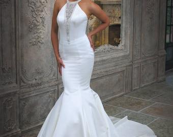 Grace Philips Original- Gina. Ivory Satin Fishtail Wedding Dress