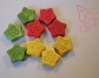 SET of 9 beads/red/yellow green star * smile * HOWLITE 12 mm