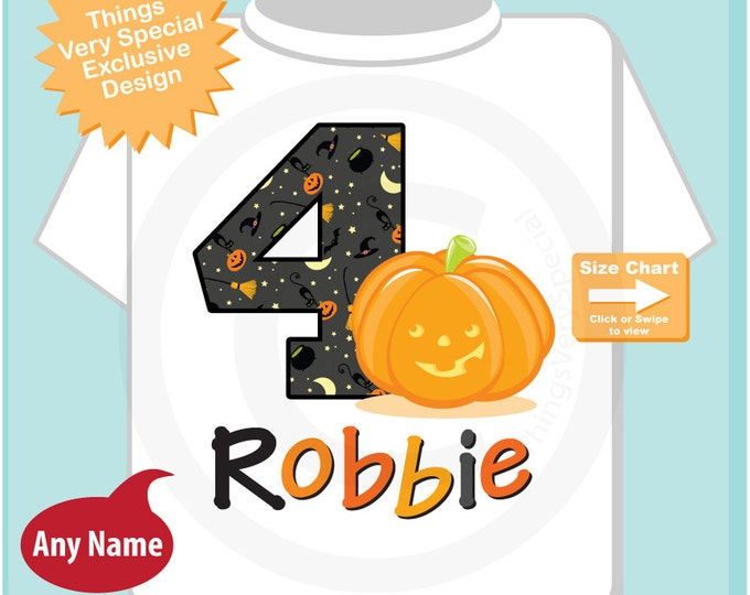 Personalized Fourth Birthday Pumpkin Tee Shirt, 4th Birthday Halloween Theme T-Shirt, Any Age (10082014i)