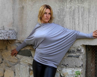 Asymmetric Tunic / Gray Tunic / Loose Top / Long Sleeve Blouse / Twisted Jersey Top by JMSTYLE