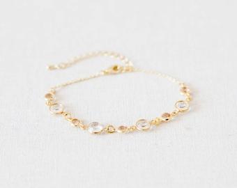 Crystal Bracelet, Wedding Bridal Bracelet, Blush Pink Bracelet, Minimalist Bracelet, Gold Modern Bracelet, Wedding Jewellery - Lily