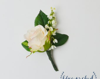 Rose Bud Boutonniere, Pink and White Boutonniere, Button Hole, Boutonniere, Bout, Silk Boutonniere, Wedding Boutonniere, Groom Boutonniere