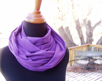 Infinity Scarf, Loop Scarf, Soft Cotton Knit, Eternity Scarf, Circle Scarf, Purple Scarf