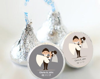 108 Custom Wedding Kiss® Stickers - Hershey Kiss Bridal Shower - Stickers - Groom Carrying Bride - Kiss Labels - You pick the colors