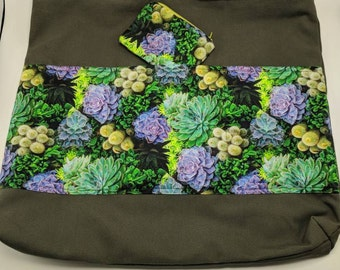 Large Tote Bag with Succulent Print with Coin Purse